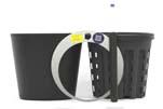 HTL Flori 19 schwarz mit HPL - System Erde und HTL-Kulturtopf 16,5 x14,5 cm