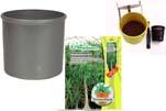 "Plants4Kids ""Mein Pflanzentöpfchen"" Topf dunkelsilber Komplettset mit Beaucarnea Nr. 50403"
