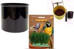 """Plants4Kids """"Mein Tiergrastöpfchen"""" Topf schwarz Komplettset mit Vogelgras Nr. 24351913"""