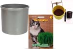 """Plants4Kids """"Mein Tiergrastöpfchen"""" Topf silber Komplettset mit Katzengras Nr. 24351813"""