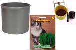 "Plants4Kids ""Mein Tiergrastöpfchen"" Topf dunkelsilber Komplettset mit Katzengras Nr. 24351813"