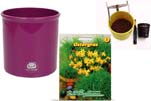 """Plants4Kids """"Mein Tiergrastöpfchen"""" Topf violett Komplettset mit Ostergras Nr. 24351713"""