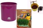 """Plants4Kids """"Mein Tiergrastöpfchen"""" Topf violett Komplettset mit Vogelgras Nr. 24351913"""